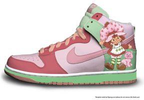 strawberry shortcake Nike dunks by mannepussie