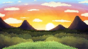 Distant Pixel Sunset by whiteicepanther