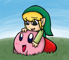Little Link with Little Kirby by ArenWolfDemon