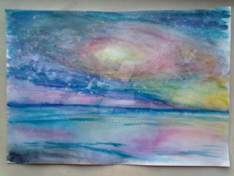 Andromeda above the sea (watercolor) by graycream