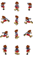 RPG Maker VX Ace Sprite Sheet - Sora (No Keyblade) by twewy1
