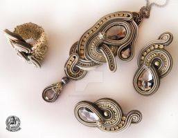 Soutache  set earrings, ring and pendant in Grey by caricatalia