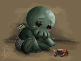 Baby Cuthulu (and poor crab) by Matshukle
