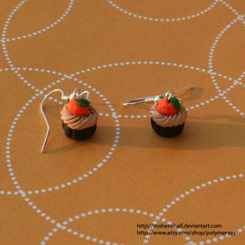 Polymer Clay Pumpkin Cupcake Charm Earrings by ShinigamiSoiree