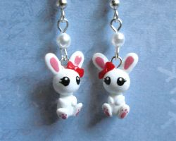 Cute Bunny Earrings by DragonsAndBeasties