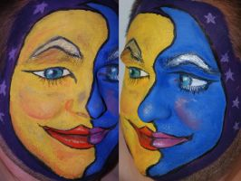 Sun and Moon Face Paint by foxkat