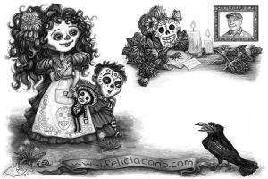 Day of the Dead Postcard Back by feliciacano