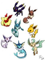 Chibi Eevee and friends v.2.0 by pookat