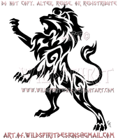 Rampant Lion Tribal Tattoo by WildSpiritWolf