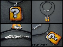 Handmade Seed Bead Question Mark Block Necklace by Pixelosis