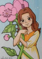 Arrietty with flowers ACEO card by LadyNin-Chan
