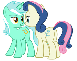 Lyra and Bon Bon looking at each other (sockless) by FluffyTuli