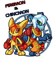 Firemon and Chincmon by Pikuna