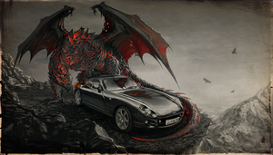 commission: a dragon and his car by kopfstoff