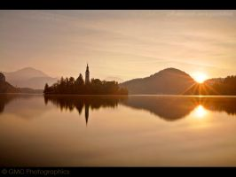 Lake Bled Morning Sunburst by GMCPhotographics