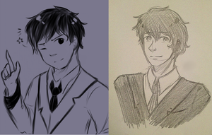 Comparing my digital style to my traditional by Midoromi