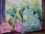 Glass bottles and Peonies 2 by p-e-a-k