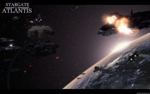 Stargate Atlantis Space Battle by bb42001