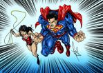 Superman And Wonder Woman Colored by azzh316