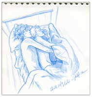 In the parents house on the old teen's bed by Loki-Nightfire