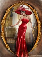 Portrait of lady in red by tanya-and-coffee