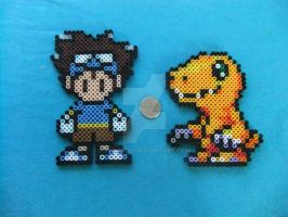 Tai and Agumon Perlers by Soranoo