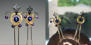 Heliotrope Steampunk Hair Pins- SOLD by YouniquelyChic
