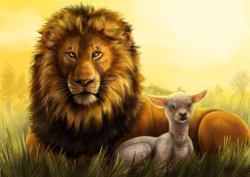 Lion and the Lamb by Greykitty
