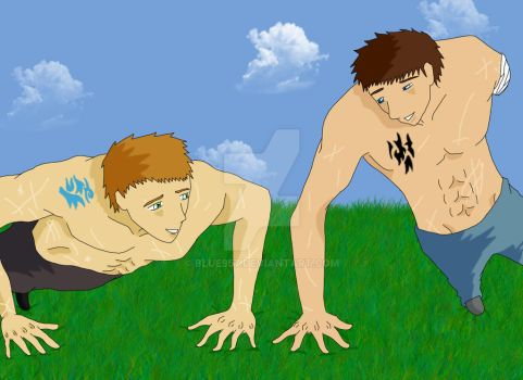 Lucas and Tristian training by blue957