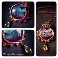 Labradorite and Copper Pendant by WrappedbyDesign