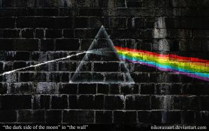 the dark side of the moon in the wall by NikorasuArt