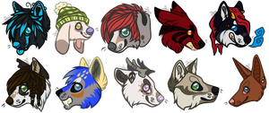 [C:] .: Chibi Head Batch 1 :. by SillyTheWolf