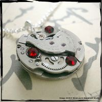 Steampunk Necklace -Red-light- by SoulCatcher06