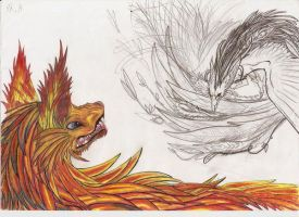 The fire wolf and the phenix by Myusuran-blackwolf