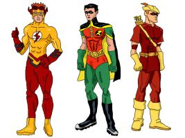Young Justice - Kid Flash, Robin and Speedy by LavenderRanger