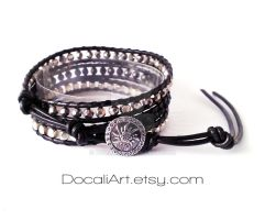 Black silver crystal wrap bracelet metal bracelet by Docali