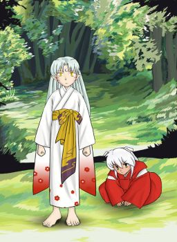 Inuyasha and Sessy Kids by insomniacvampire
