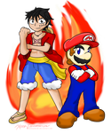 Mario and Luffy: Fire Bros. Request by Xero-J