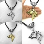 Huge Werewolf on Wolf Head Leather Cord Necklace by GoodSpiritWolf