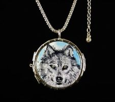 Art Necklace Wolf and Chief by NancyvandenBoom