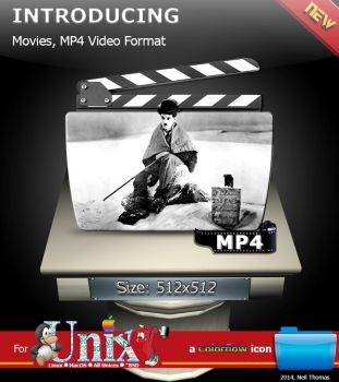 Movies, MP4 Format folder icon (ColorFlow) by nt291263