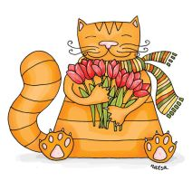 cat with tulips by Norvaal