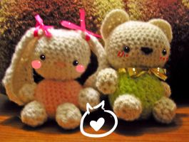 Cute Bunny + Bear Amigurumi by CoffeeBuns