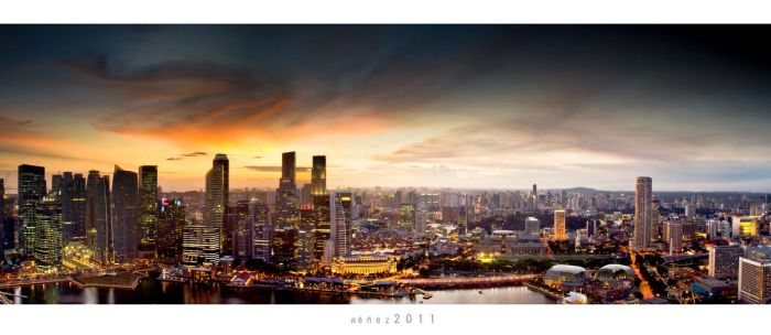 The Sunset and e Citylights by Renez