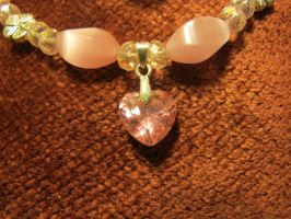 Pink Heart Necklace Closeup 2 by Windthin