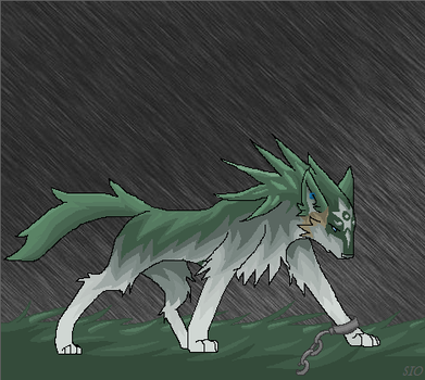 LoZ: Wolf Link in the Rain by SioNeko
