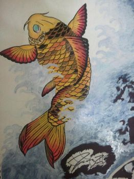 Koi Jumping Out of Water paint by LAYZJAY