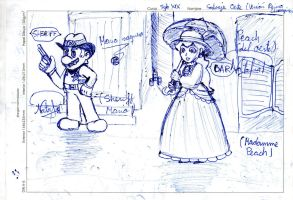 Western Mario and Peach by Dino-drawer