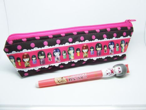 Kokeshi (Japanese doll) patterned pencil case by BlueDove415