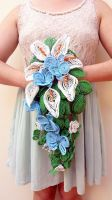 Calla Lily and Orchid beaded cascade bouquet by EverAfterArtisanry